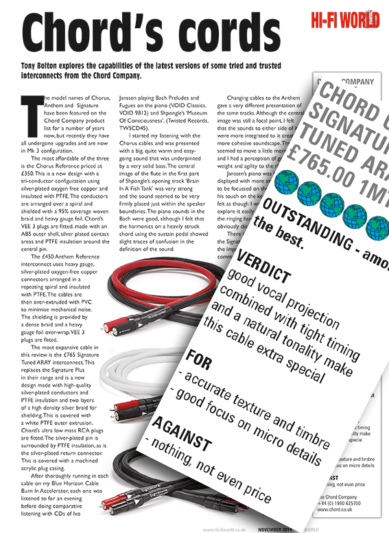 Product review: Chords Cords - Hi-Fi World Nov 2014 - The Chord Company
