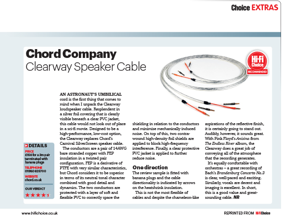 product review chord clearway speaker cable hi fi choice 405 dec 2015 the chord company. Black Bedroom Furniture Sets. Home Design Ideas