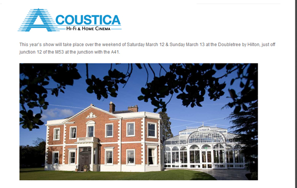 Acoustica Hi-fi Show 2016 – 12-13 March 2016, Chester UK