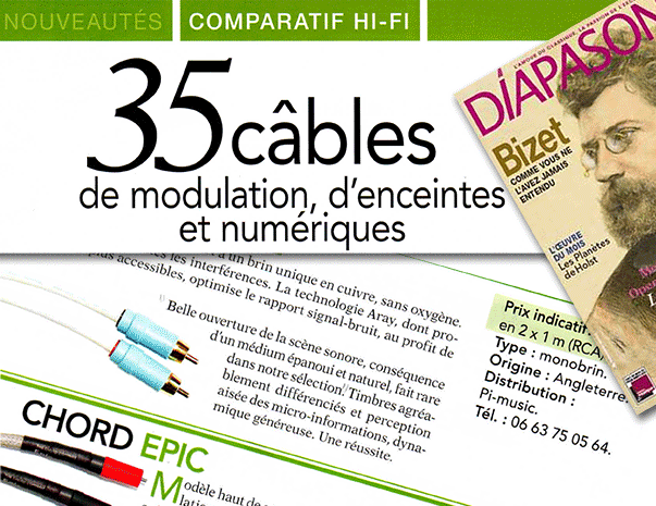 Product review – 5x Chord Company cables – Diapason Magazine (France) June 2016