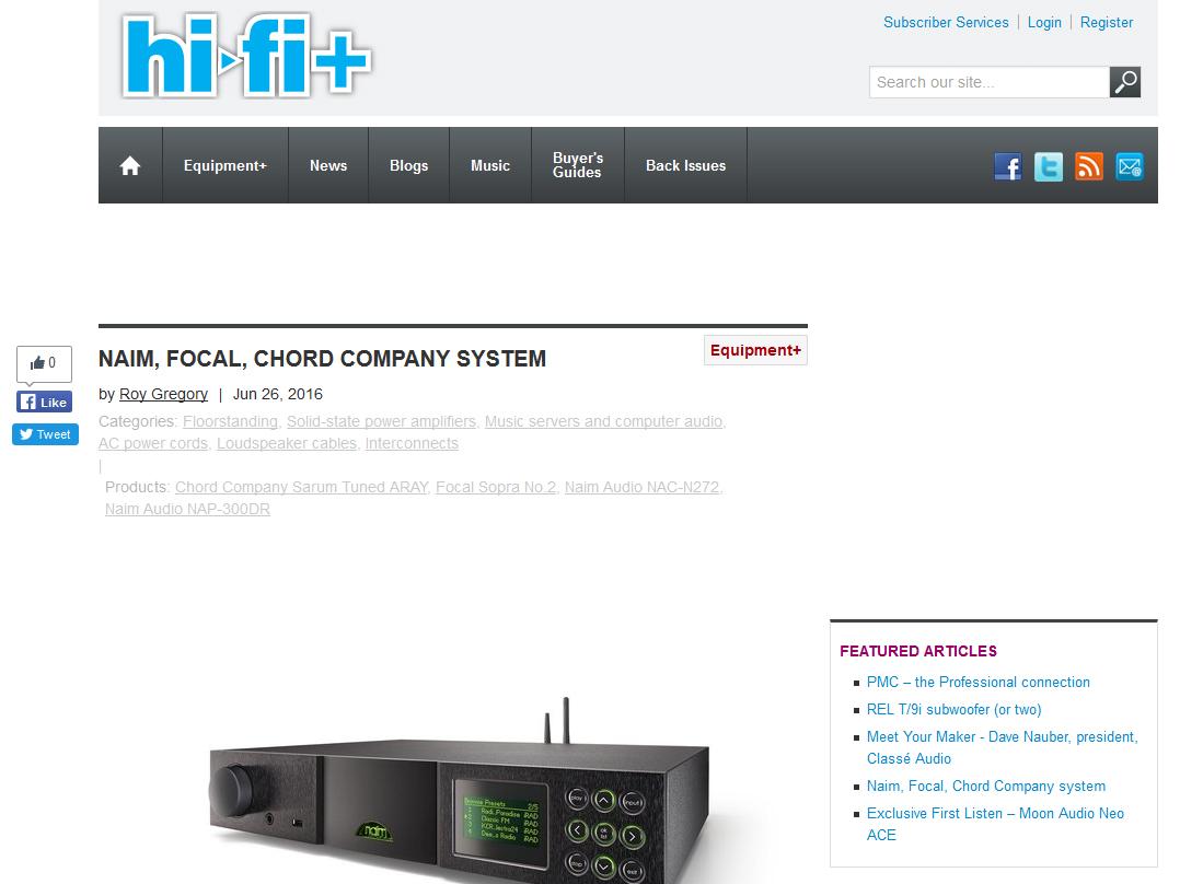 Product review:  Chord Sarum, Naim & Focal  – Hi-Fi+ June 2016