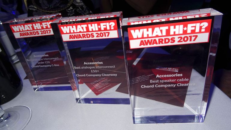 What Hi-Fi? Awards 2017 – Best Buy: Chord Clearway interconnect, Clearway speaker cable and C-line interconnect