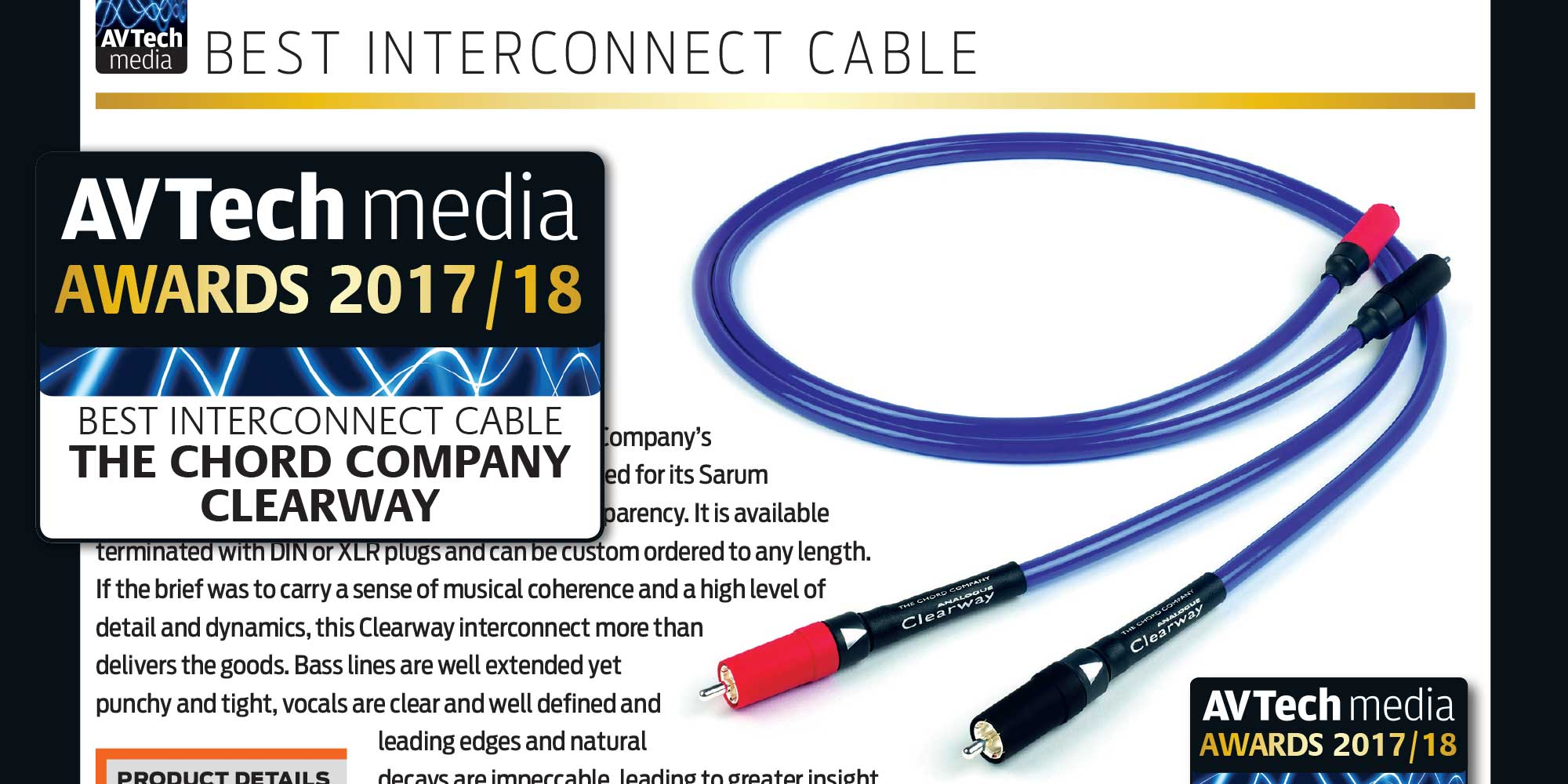 AV Tech Media Awards 2017/18 – Best Interconnect Cable: Chord Clearway