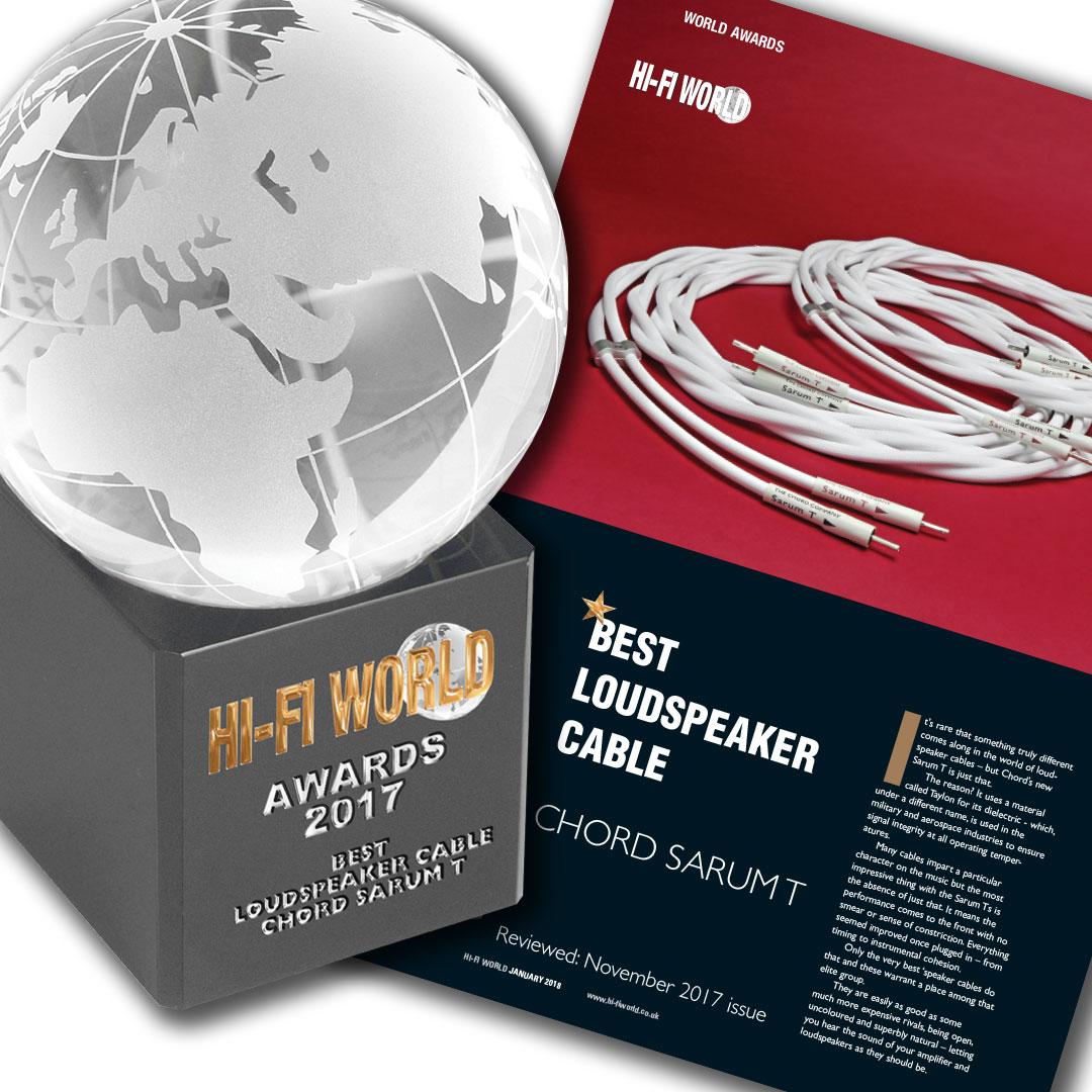 Hi-Fi World Awards 2017 - Best Loudspeaker Cable: Chord Sarum T (Jan